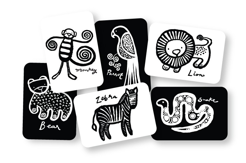 Line Art Baby : Wee gallery jungle collection art cards for baby